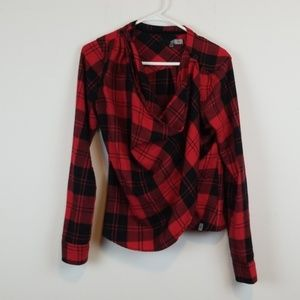Volcom Plaid wrap cardigan size M